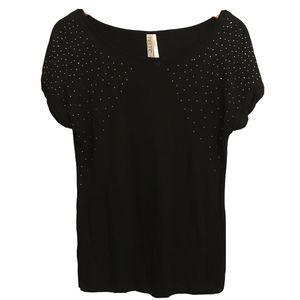 Kische Embellished Short Sleeve Top Large Black